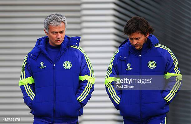 Jose Mourinho manager of Chelsea and assistant coach Rui Faria in discussion during a Chelsea training session ahead of the UEFA Champions League...
