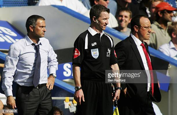 Jose Mourinho manager of Chelsea and Rafael Benitez manager of Liverpool lok on from the touchline during the Barclays Premiership match between...