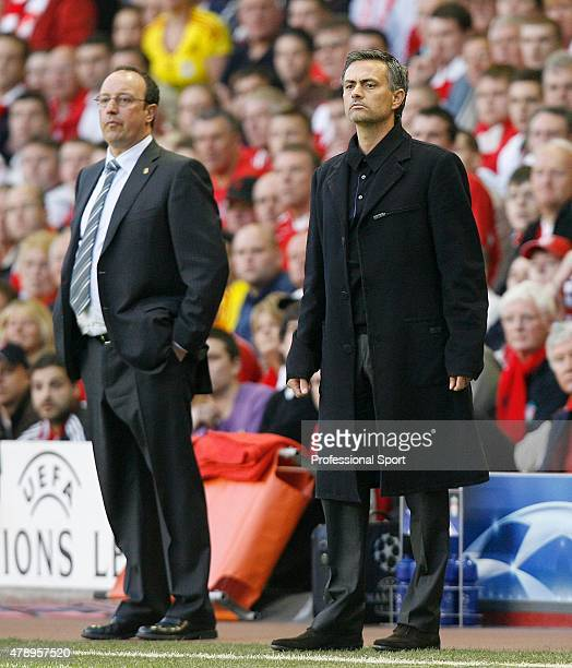 Jose Mourinho Manager of Chelsea and Rafael Benitez Manager of Liverpool look on from the side lines during the UEFA Champions League semi final...
