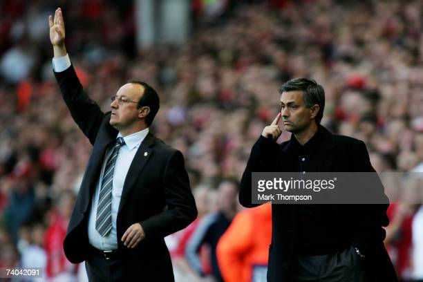 Jose Mourinho Manager of Chelsea and Rafael Benitez Manager of Liverpool shout instructions from the side lines during the UEFA Champions League semi...