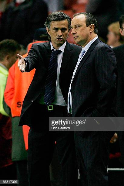 Jose Mourinho manager of Chelsea and Rafael Benitez manager of Liverpool talk prior to the UEFA Champions League Group G match between Liverpool and...