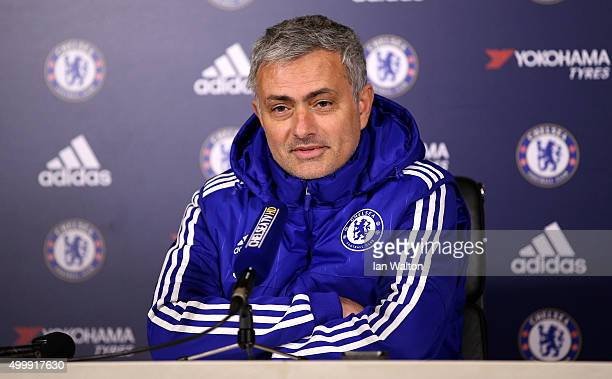 Jose Mourinho Manager of Chelsea answers questions from the media during a press conference ahead of the Barclays Premier League match between...