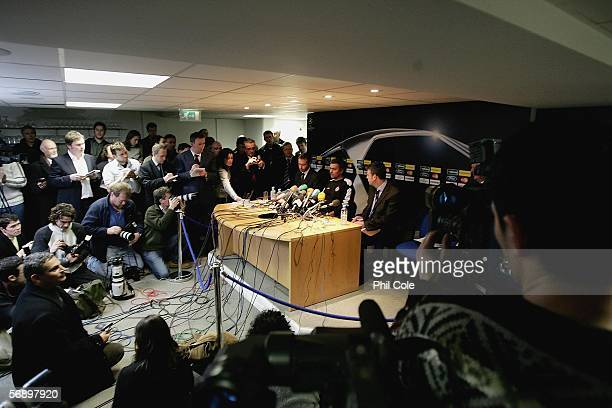 Jose Mourinho Manager of Chelsea attends a press conference for the UEFA Champions League match against Barcelona at Stamford Bridge on February 21...
