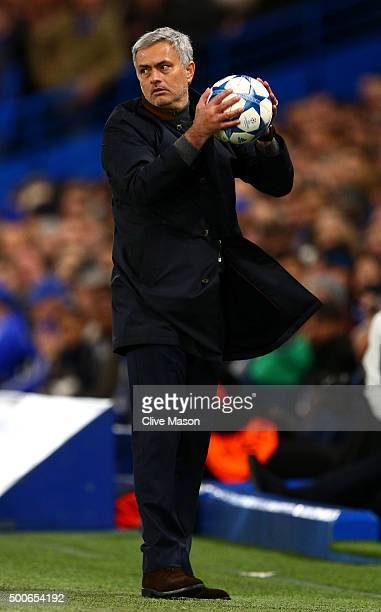 Jose Mourinho manager of Chelsea catches the ball during the UEFA Champions League Group G match between Chelsea FC and FC Porto at Stamford Bridge...