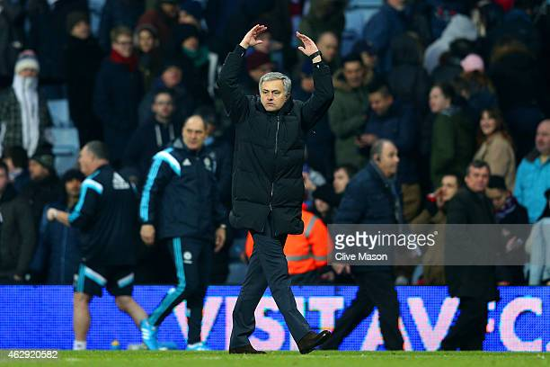 Jose Mourinho manager of Chelsea celebrates victory after the Barclays Premier League match between Aston Villa and Chelsea at Villa Park on February...