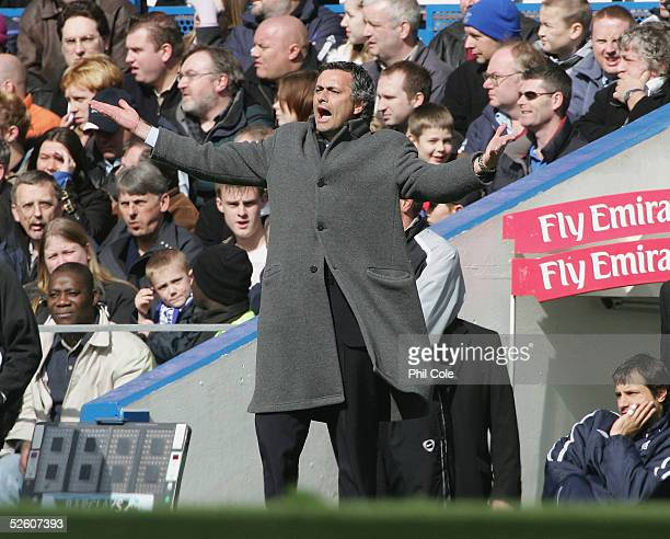 Jose Mourinho, manager of Chelsea, gestures during the Barclays Premiership match between Chelsea and Birmingham City at Stamford Bridge on April 9,...