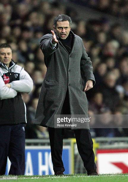 Jose Mourinho manager of Chelsea gets animated during the Barclays Premiership match between Blackburn Rovers and Chelsea at Ewood Park on February 2...