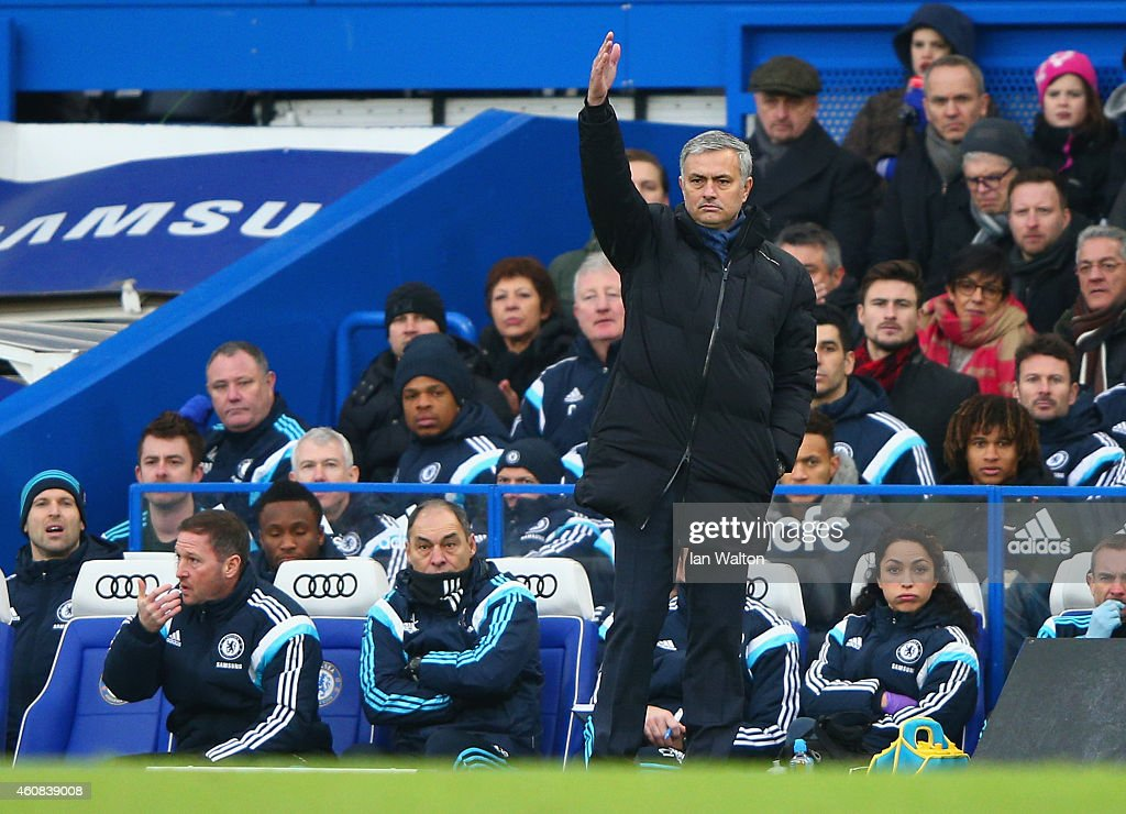 Jose Mourinho manager of Chelsea gives direction during the Barclays Premier League match between Chelsea and West Ham United at Stamford Bridge on December 26, 2014 in London, England.