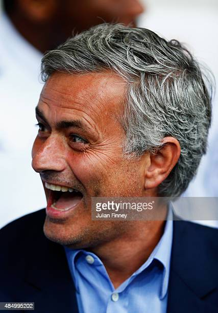Jose Mourinho manager of Chelsea laughs during the Barclays Premier League match between West Bromwich Albion and Chelsea at The Hawthorns on August...