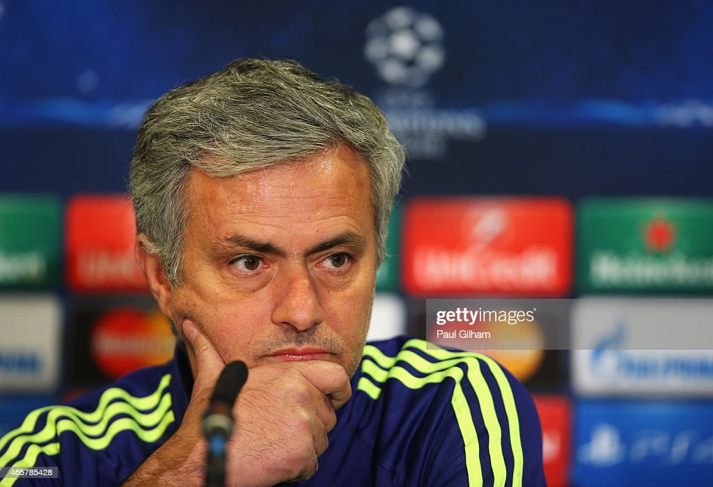 Jose Mourinho manager of Chelsea looks on during a Chelsea press conference ahead of the UEFA Champions League Round of 16 second leg match against Paris Saint-Germain at Stamford Bridge on March 10, 2015 in London, England.