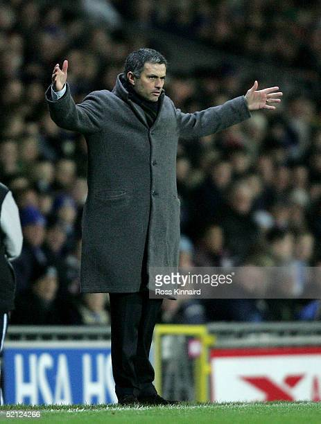 Jose Mourinho manager of Chelsea looks on during the Barclays Premiership match between Blackburn Rovers and Chelsea at Ewood Park on February 2 2005...