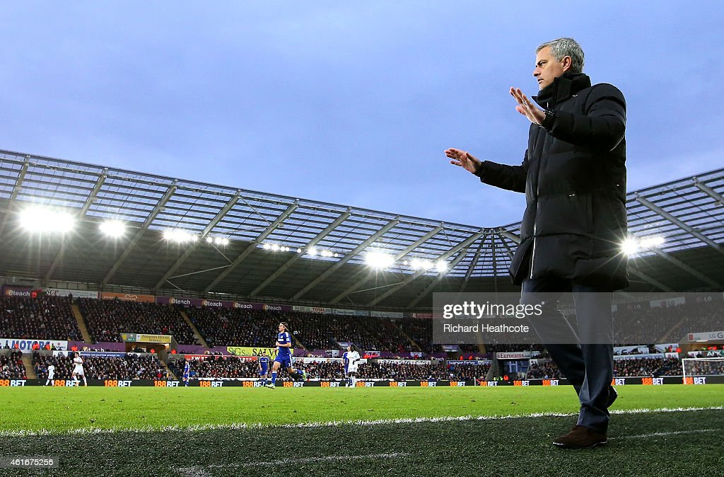 Jose Mourinho, manager of Chelsea looks on during the Barclays Premier League match between Swansea City and Chelsea at Liberty Stadium on January 17, 2015 in Swansea, Wales.