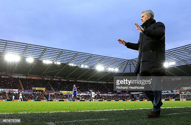 Jose Mourinho manager of Chelsea looks on during the Barclays Premier League match between Swansea City and Chelsea at Liberty Stadium on January 17...