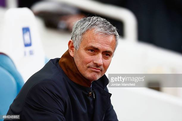 Jose Mourinho Manager of Chelsea looks on during the Barclays Premier League match between West Ham United and Chelsea at Boleyn Ground on October 24...