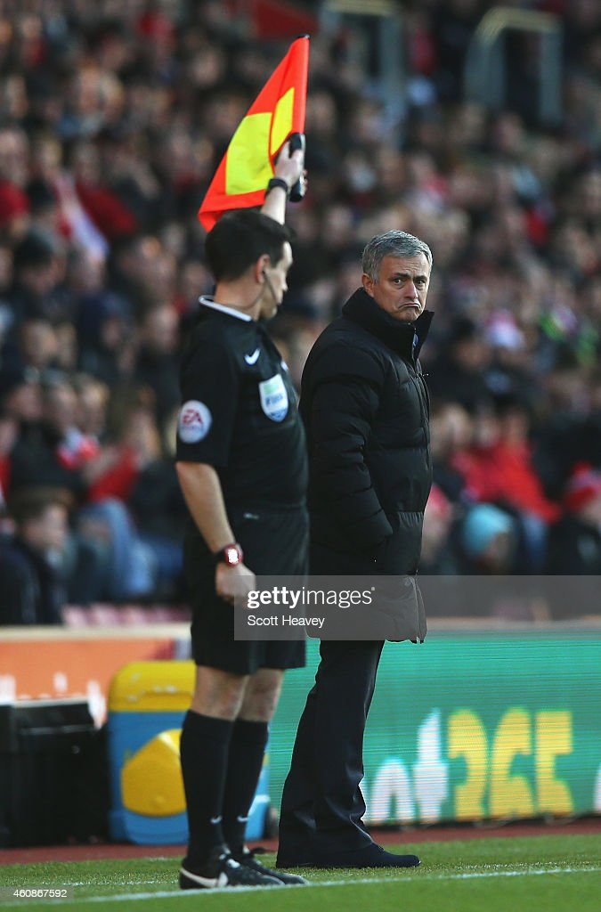 Jose Mourinho, manager of Chelsea reacts as the assistant referee gives a decision during the Barclays Premier League match between Southampton and Chelsea at St Mary's Stadium on December 28, 2014 in Southampton, England.