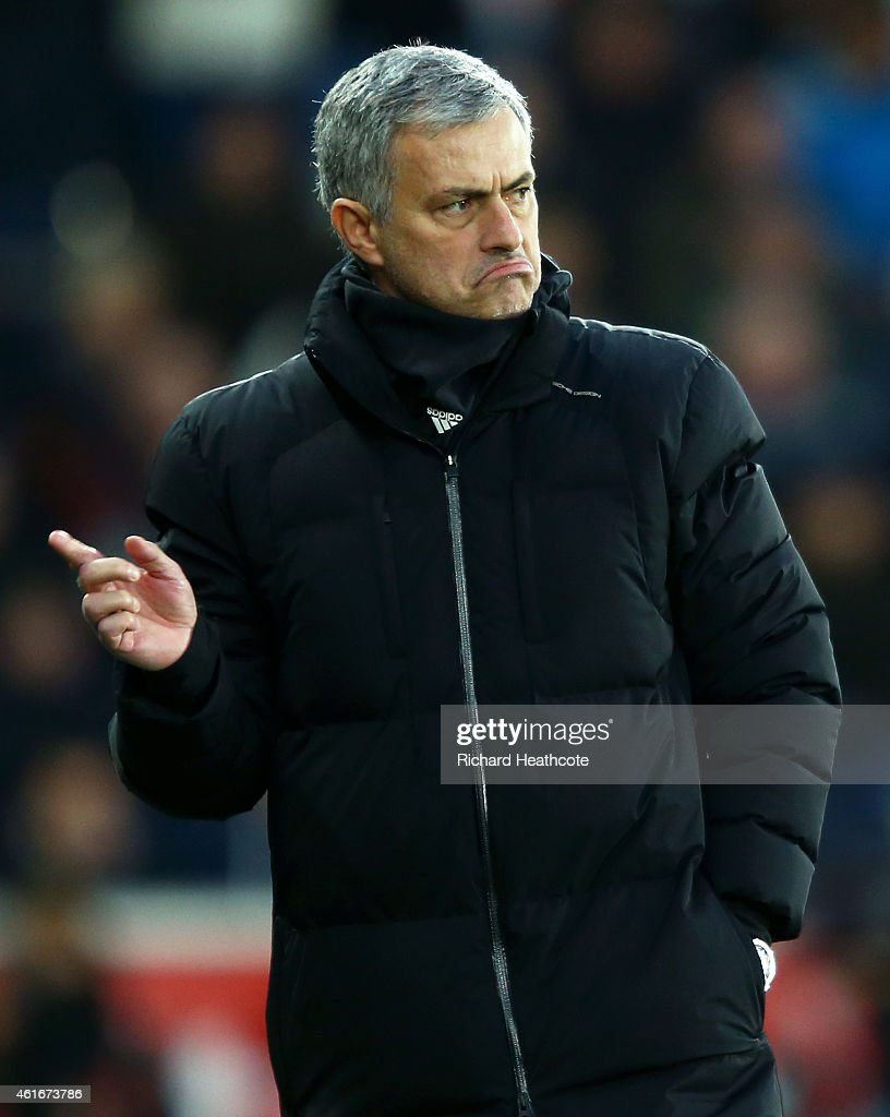 Jose Mourinho, manager of Chelsea reacts during the Barclays Premier League match between Swansea City and Chelsea at Liberty Stadium on January 17, 2015 in Swansea, Wales.