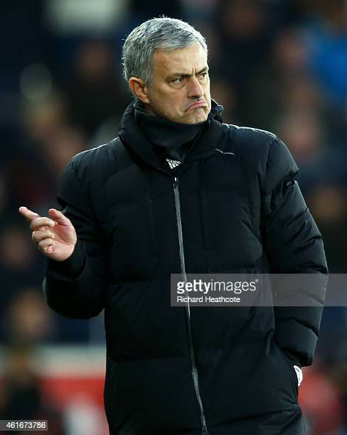 Jose Mourinho manager of Chelsea reacts during the Barclays Premier League match between Swansea City and Chelsea at Liberty Stadium on January 17...