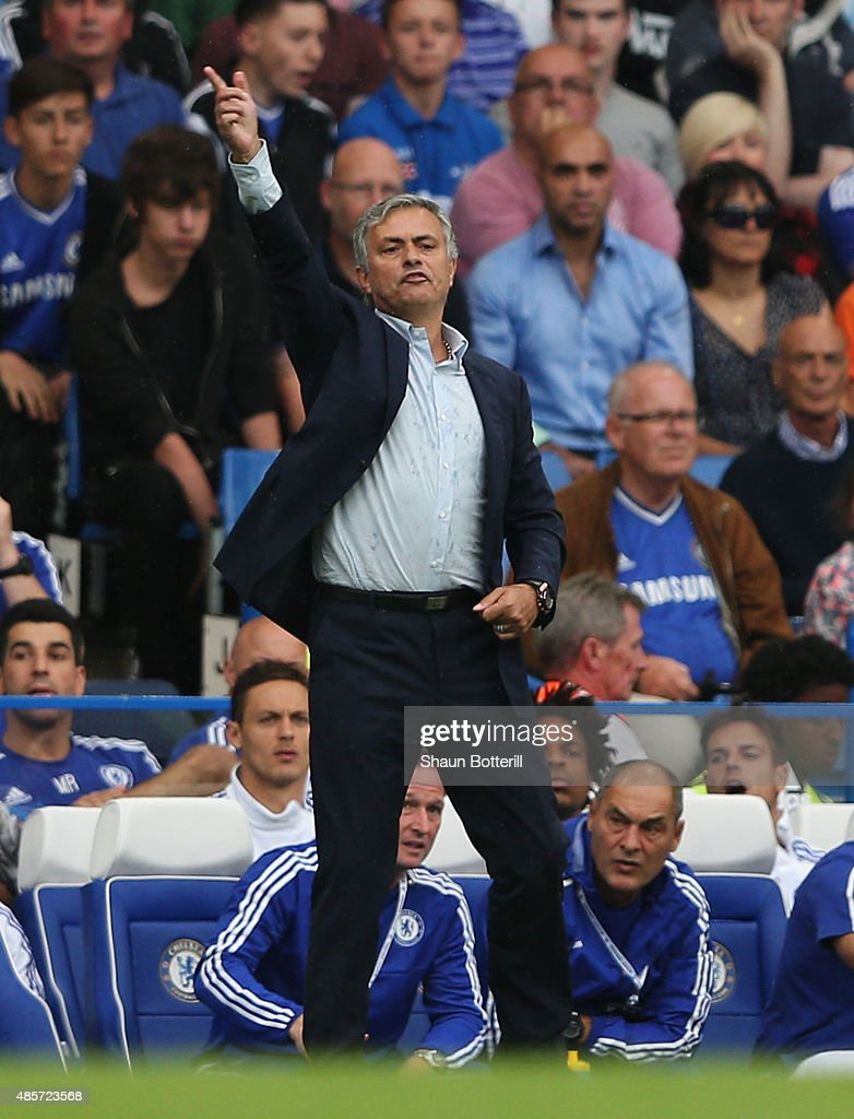 Jose Mourinho manager of Chelsea reacts during the Barclays Premier League match between Chelsea and Crystal Palace on August 29, 2015 in London, United Kingdom.