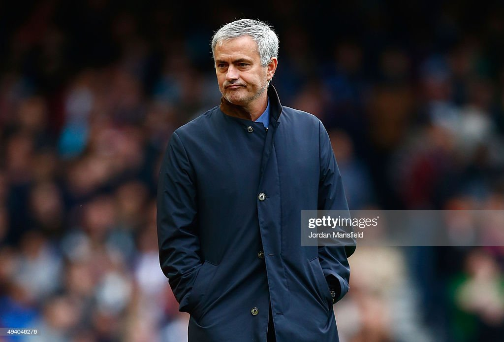 Jose Mourinho Manager of Chelsea reacts during the Barclays Premier League match between West Ham United and Chelsea at Boleyn Ground on October 24, 2015 in London, England.