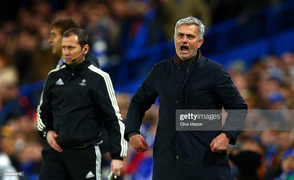 Jose Mourinho manager of Chelsea reacts during the UEFA Champions League Group G match between Chelsea FC and FC Porto at Stamford Bridge on December 9, 2015 in London, United Kingdom.