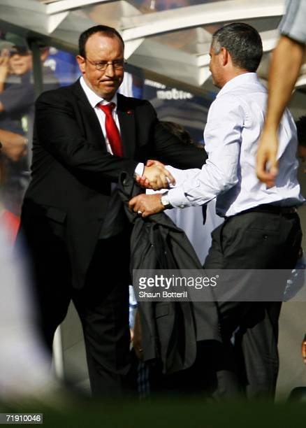 Jose Mourinho manager of Chelsea shakes hands with Rafael Benitez manager of Liverpool following the Barclays Premiership match between Chelsea and...