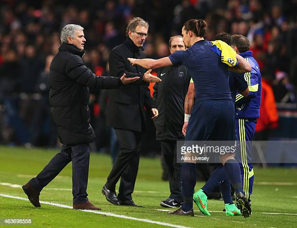 Jose Mourinho manager of Chelsea shakes hands with Zlatan Ibrahimovic of Paris SaintGermain after the UEFA Champions League Round of 16 match between...