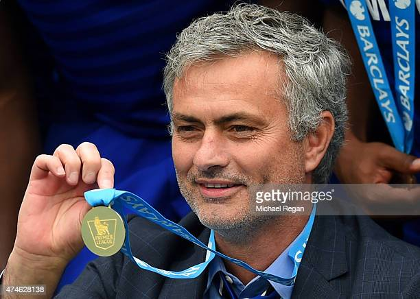 Jose Mourinho manager of Chelsea shows his champion's medal after the Barclays Premier League match between Chelsea and Sunderland at Stamford Bridge...