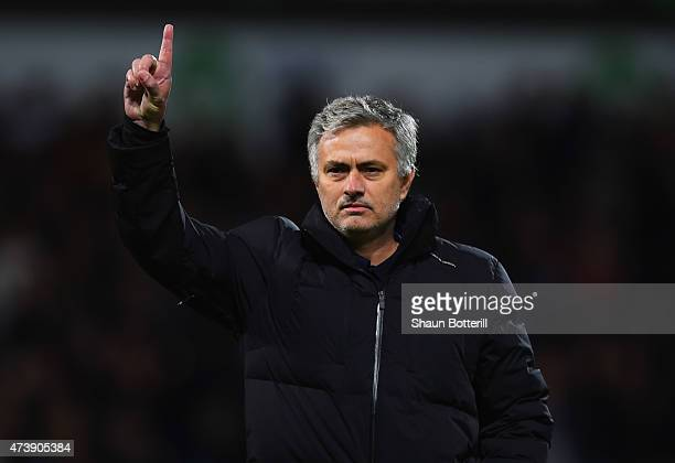Jose Mourinho manager of Chelsea signals to the travelling fans after defeat during the Barclays Premier League match between West Bromwich Albion...