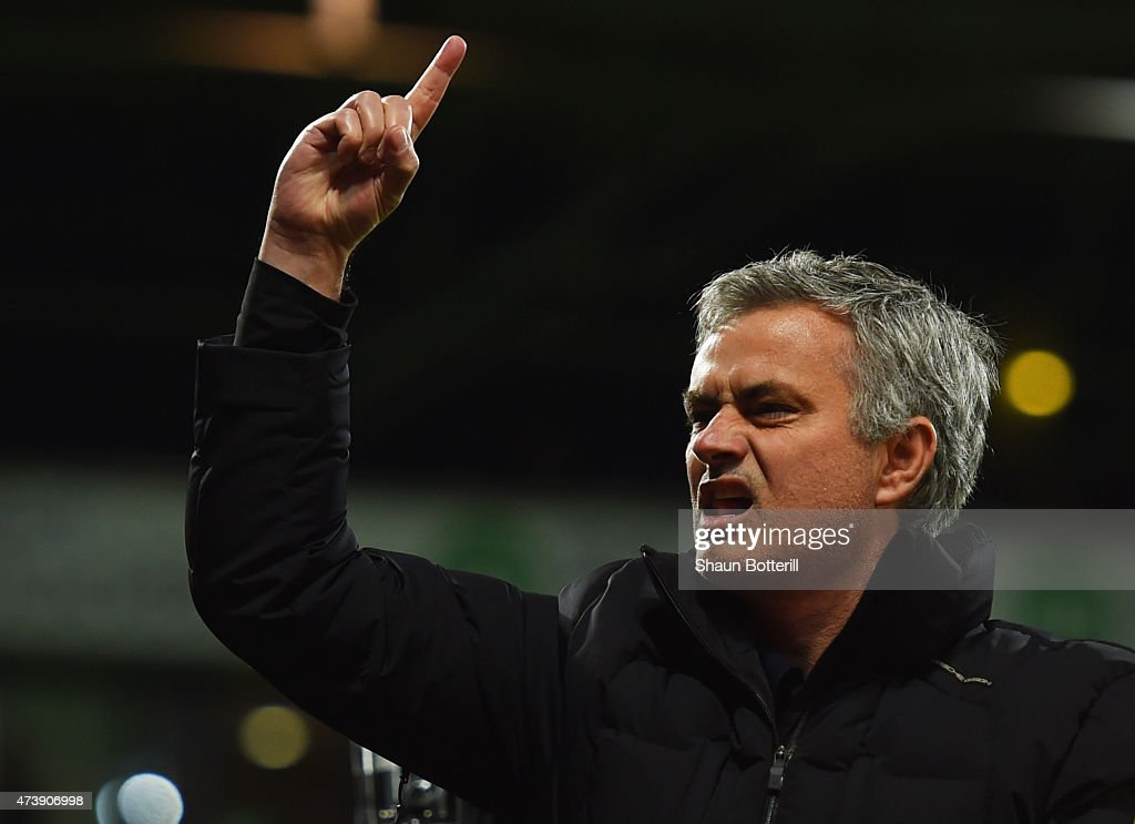 Jose Mourinho manager of Chelsea signals to the travelling fans after defeat during the Barclays Premier League match between West Bromwich Albion and Chelsea at The Hawthorns on May 18, 2015 in West Bromwich, England.