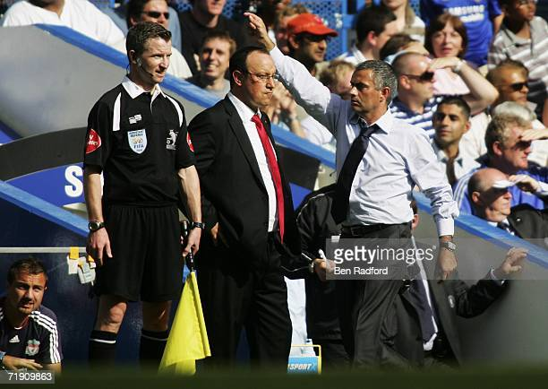Jose Mourinho manager of Chelsea walks past Rafael Benitez manager of Liverpool during the Barclays Premiership match between Chelsea and Liverpool...