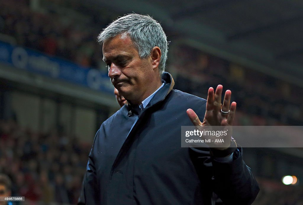 Jose Mourinho Manager of Chelsea waves during the Capital One Cup Fourth Round match between Stoke City and Chelsea at Britannia Stadium on October 27, 2015 in Stoke on Trent, England.
