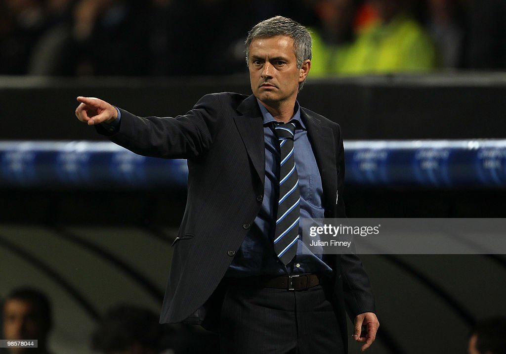 Jose Mourinho, manager of Inter gives instructions during the UEFA Champions League Semi Final 1st Leg match between Inter Milan and Barcelona at the San Siro on April 20, 2010 in Milan, Italy.