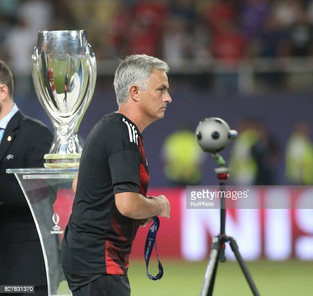Jose Mourinho Manager of Manchester United after the UEFA Super Cup match between Real Madrid and Manchester United at National Arena Filip II...