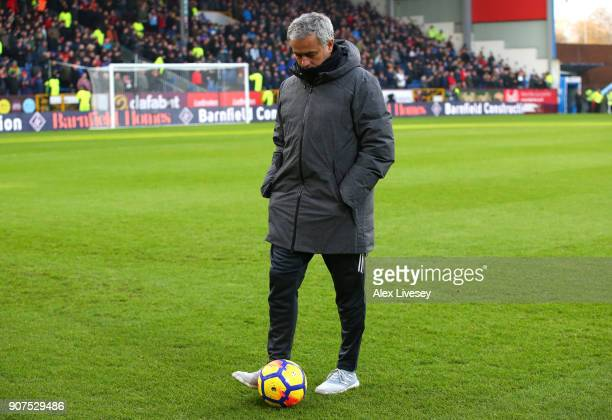 Jose Mourinho Manager of Manchester United ahead of the Premier League match between Burnley and Manchester United at Turf Moor on January 20 2018 in...