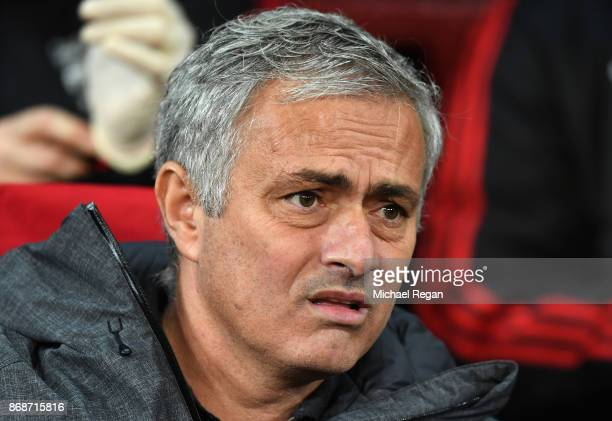 Jose Mourinho Manager of Manchester United ahead of the UEFA Champions League group A match between Manchester United and SL Benfica at Old Trafford...