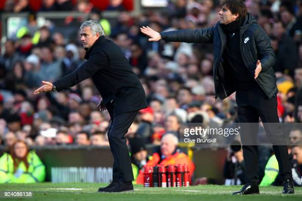 Jose Mourinho Manager of Manchester United and Antonio Conte Manager of Chelsea during the Premier League match between Manchester United and Chelsea...