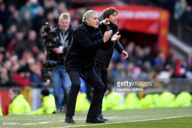 Jose Mourinho Manager of Manchester United and Antonio Conte Manager of Chelsea give their teams instuctions during the Premier League match between...