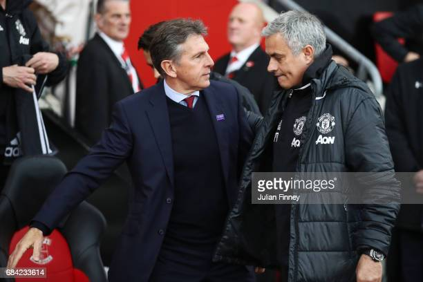 Jose Mourinho Manager of Manchester United and Claude Puel Manager of Southampton embrace prior to the Premier League match between Southampton and...