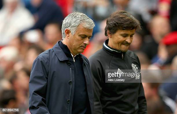 Jose Mourinho Manager of Manchester United and his assisstant Rui Faria leave the pitch after the game during the Premier League match between...