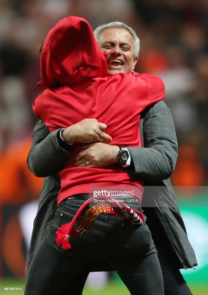 Jose Mourinho, Manager of Manchester United and his son Jose Mario Mourinho JR. celebrate victory following the UEFA Europa League Final between Ajax and Manchester United at Friends Arena on May 24, 2017 in Stockholm, Sweden.