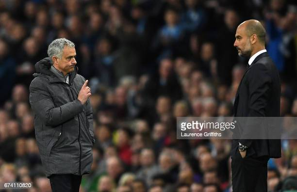Jose Mourinho Manager of Manchester United and Josep Guardiola Manager of Manchester City during the Premier League match between Manchester City and...