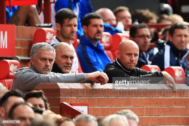 Jose Mourinho Manager of Manchester United and Nicky Butt look on during the Premier League match between Manchester United and Crystal Palace at Old...