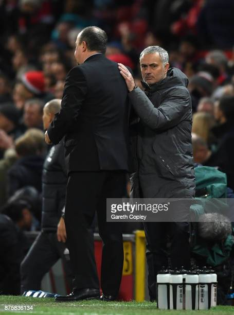 Jose Mourinho Manager of Manchester United and Rafael Benitez Manager of Newcastle United shake hands after the Premier League match between...