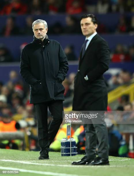Jose Mourinho Manager of Manchester United and Vincenzo Montella manager of Sevilla look on from the touchline during the UEFA Champions League Round...