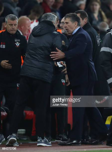 Jose Mourinho Manager of Manchester United annd Claude Puel Manager of Southampton embrace after the Premier League match between Southampton and...