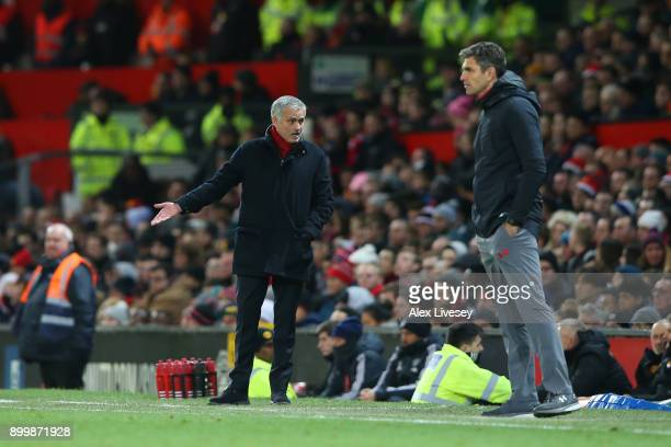 Jose Mourinho Manager of Manchester United appeals as Mauricio Pellegrino Manager of Southampton looks on during the Premier League match between...