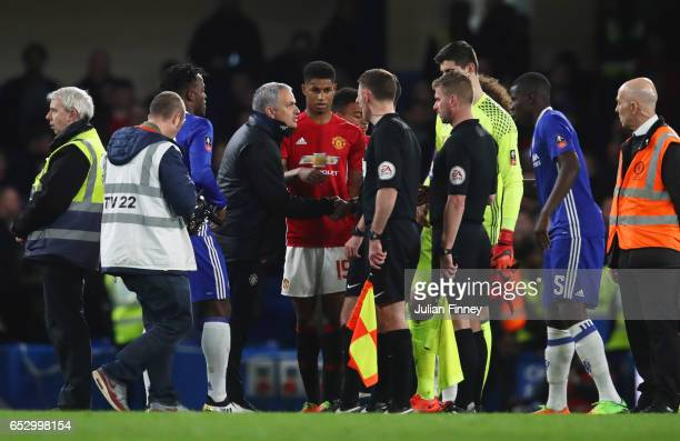 Jose Mourinho manager of Manchester United appeals to officials after The Emirates FA Cup QuarterFinal match between Chelsea and Manchester United at...