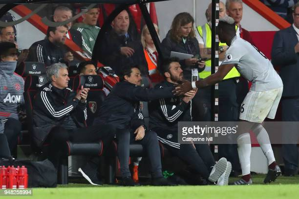 Jose Mourinho Manager of Manchester United applaudes as Paul Pogba of Manchester United comes off the pitch after being substituted during the...