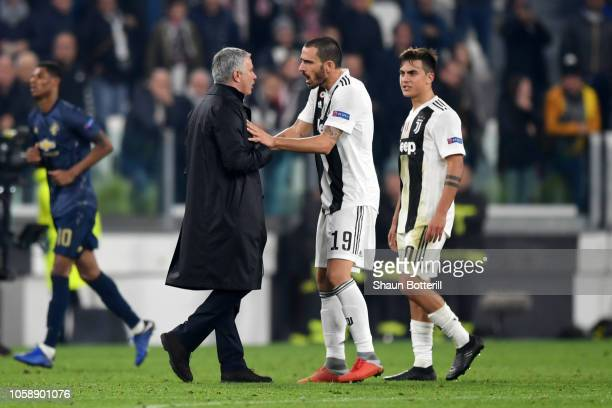Jose Mourinho Manager of Manchester United argues with Leonardo Bonucci of Juventus after the UEFA Champions League Group H match between Juventus...