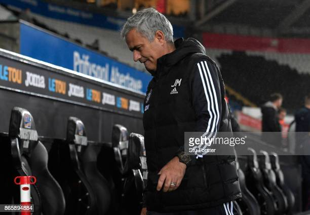 Jose Mourinho Manager of Manchester United arrive prior to the Carabao Cup Fourth Round match between Swansea City and Manchester United at Liberty...